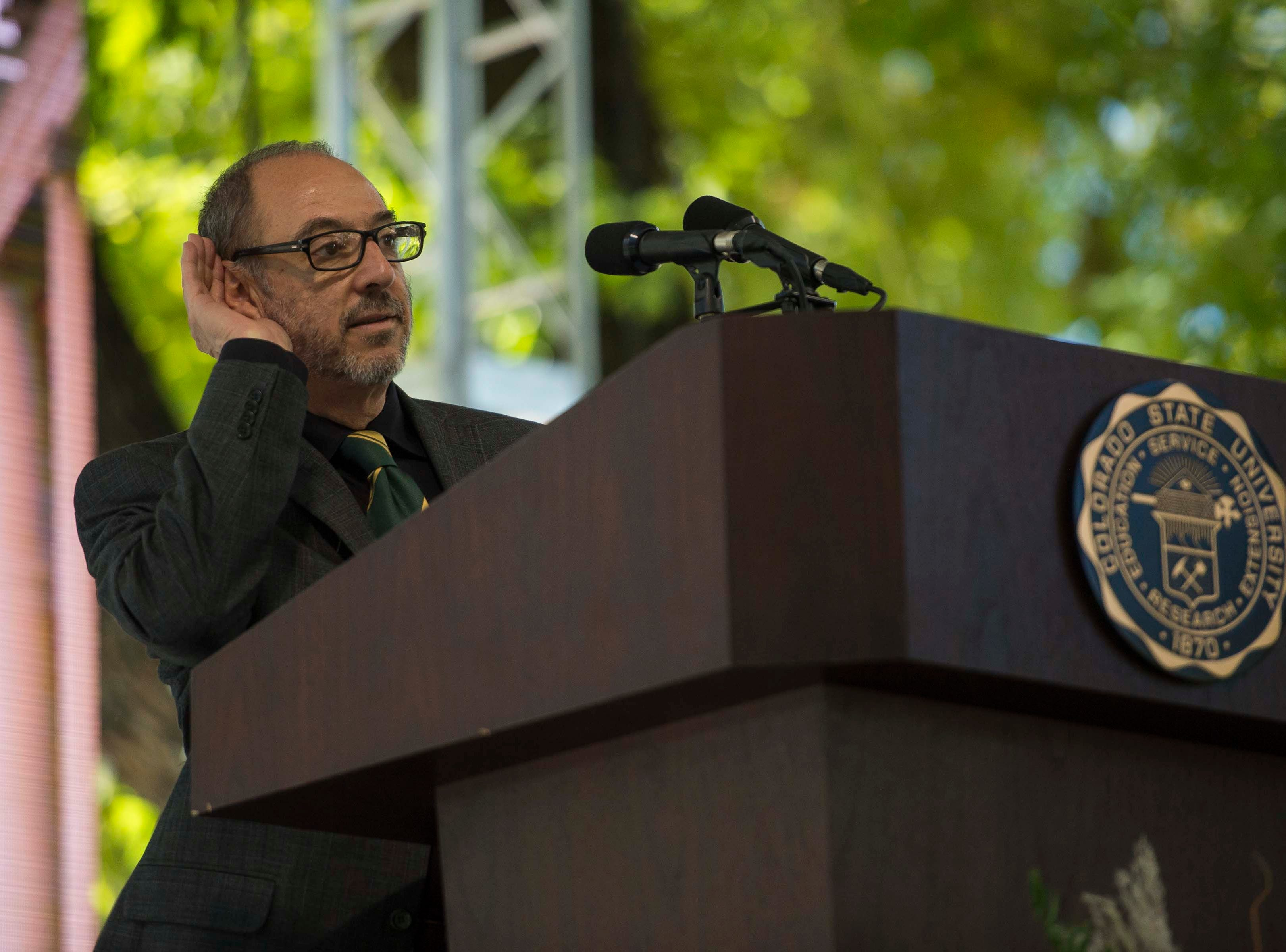 CSU Provost and Executive Vice President Rick Miranda speaks to an audience on Wednesday, Oct. 3, 2018, during the 2018 fall address at the Colorado State University campus in Fort Collins, Colo.