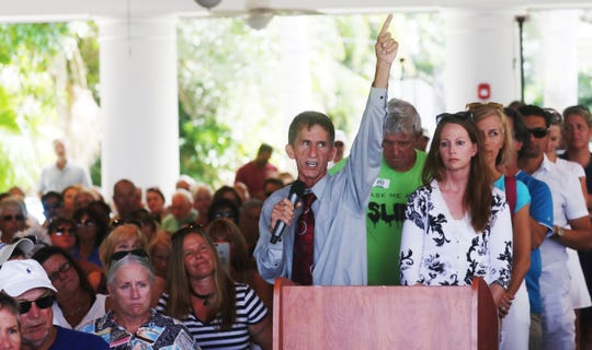 Punta Gorda resident Samuel Terpening speaks up at the Erin Brockovich event at the Burroughs Home in downtown Fort Myers on Wednesday. He claims that water quality made him sick.