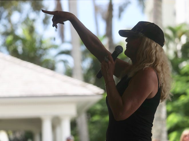 Activist Erin Brockovich visits the Burroughs Home in Fort Myers to speak about water quality issues on Oct. 3, 2018.