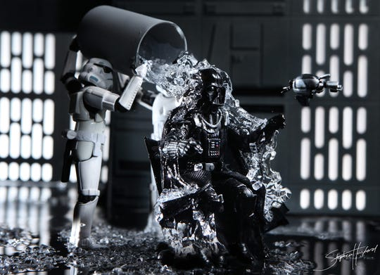"""Stephen Hayford's """"Ice Vader."""" Hayford, who makes """"Star Wars"""" diorama art using customized action figures, will appear at Comic Fest."""