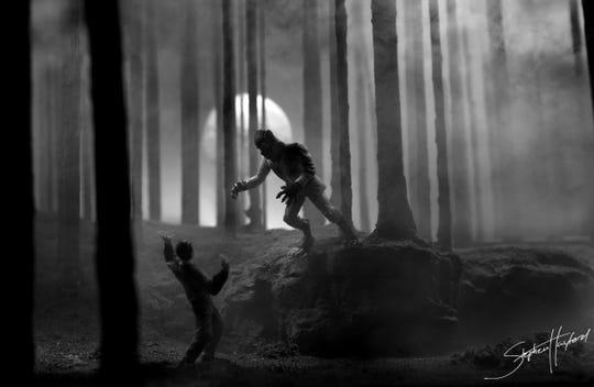 "Stephen Hayford's ""Wolfman"" is part of the ""Syzygy Presents Dark Art"" exhibit at Sidney & Berne Davis Art Center. Hayford makes diorama art using customized action figures."