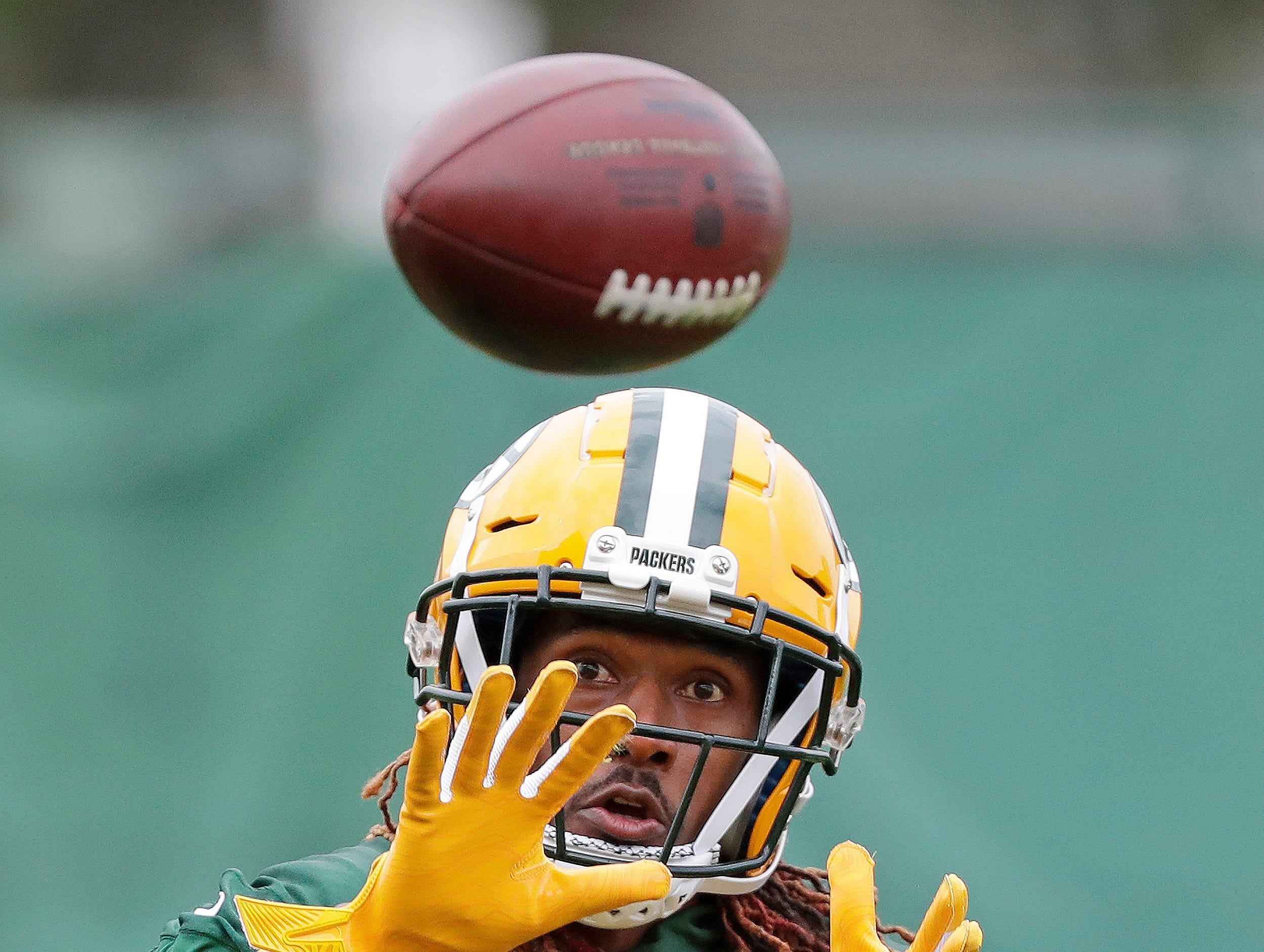 Green Bay Packers defensive back Tramon Williams (38) catches a pass during practice Wednesday, October 3, 2018 at Clarke Hinkle Field in Ashwaubenon, Wis.