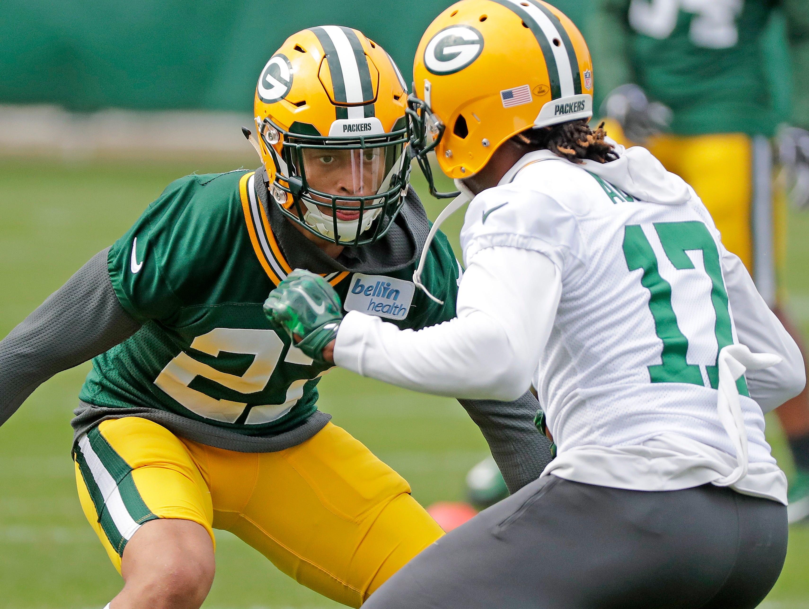 Green Bay Packers defensive back defensive back Josh Jones (27) tries to out juke wide receiver Davante Adams (17)  during practice Wednesday, October 3, 2018 at Clarke Hinkle Field in Ashwaubenon, Wis.