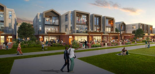 Artist's rendering of the back of townhouses along the north side of Brookwood Drive. Patios face the park area in the middle of the Green Bay Packers' Titletown District.