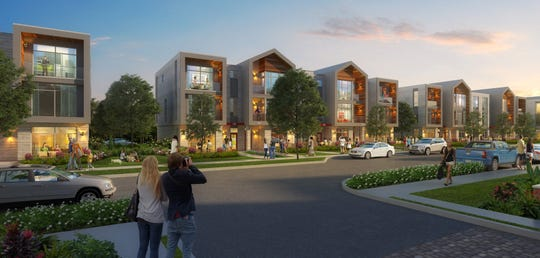 An artists rendering of the townhouses the Green Bay Packers will build in the Titletown District.