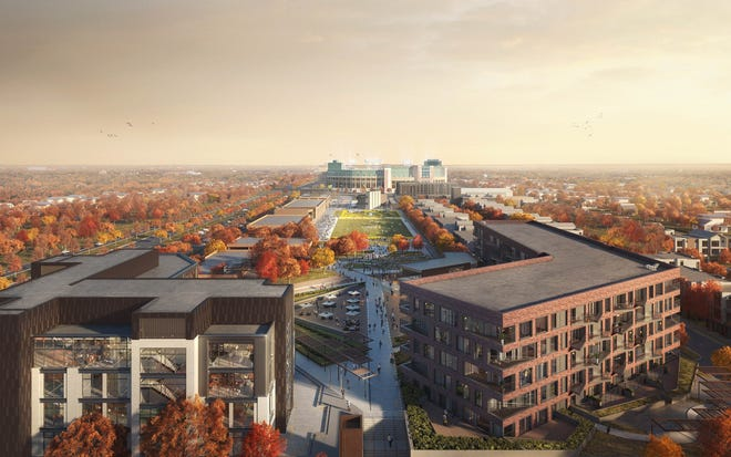 Artist's view of a completed Titletown District, with commercial buildings on the left and residential buildings on the right. Lambeau Field is in the center in the background.