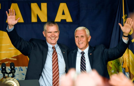 Vice President Mike Pence (right) campaigned for Republican U.S. Senate candidate Matt Rosendale on Oct. 2 at the Gallatin County Fairgounds in Bozeman, Mont.