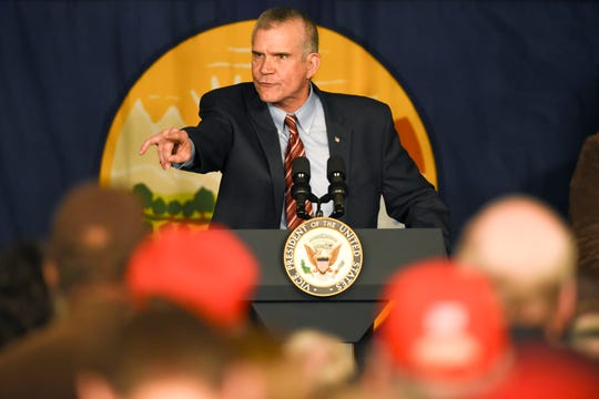 Montana auditor and U.S. Senate candidate Matt Rosendale speaks before Vice President Mike Pence during a rally on Tuesday, Oct. 2, 2018, at the Gallatin County Fairgrounds, in Bozeman, Mont. Rosendale, a Republican accuses his Democratic opponent, U.S. Rep. Jon Tester, of obstructing the confirmation process of Supreme Court nominee Brett Kavanaugh.