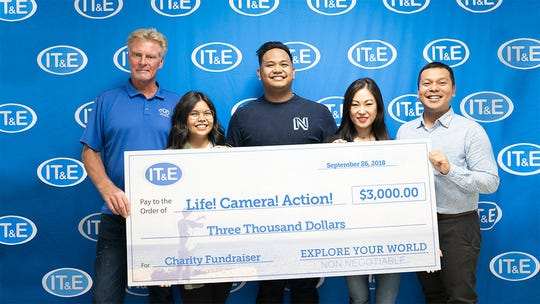 IT&E presented Project Inspire Foundation with $3,000 for Life! Camera! Action! event on Sept. 27, which raised funds and highlighted suicide prevention and mental health awareness.