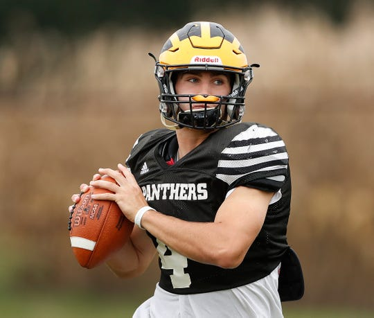 Jack Kiser, Pioneer Panthers High School football standout, practices with his teammates in Royal Center IN., on Tuesday, Sept 2, 2018.
