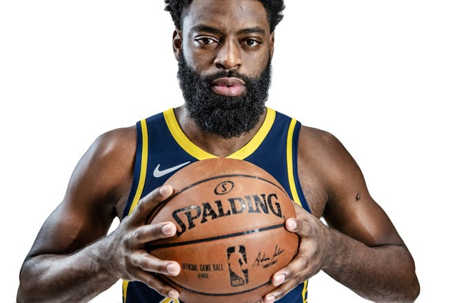 Indiana Pacers guard Tyreke Evans (12) reluctantly posed for a portrait during the Pacers' media day at Bankers Life Fieldhouse on Sept. 24.