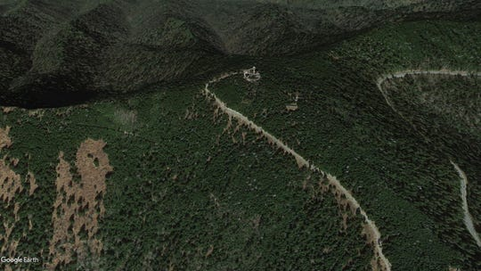 A view of the Clingmans Dome Observation Tower from Google Earth.