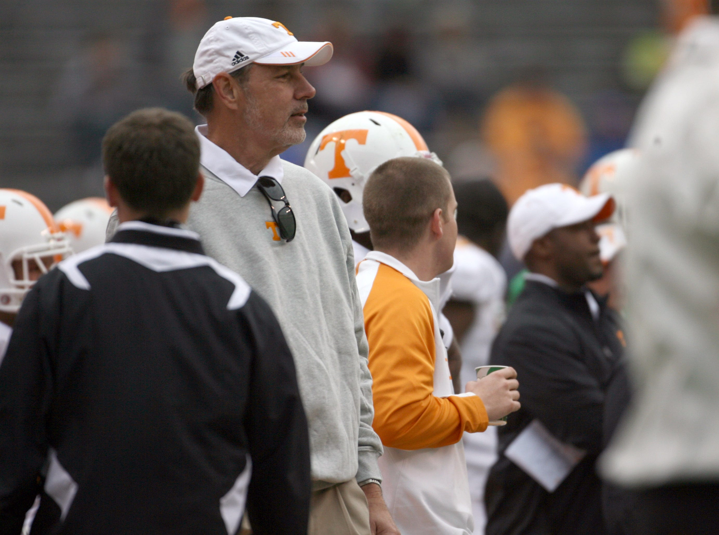 News Sentinel sports writer Mike Strange looks on while serving as the White team celebrity head coach during the Orange and White game at Neyland Stadium Saturday, April 16, 2011.  White won the game