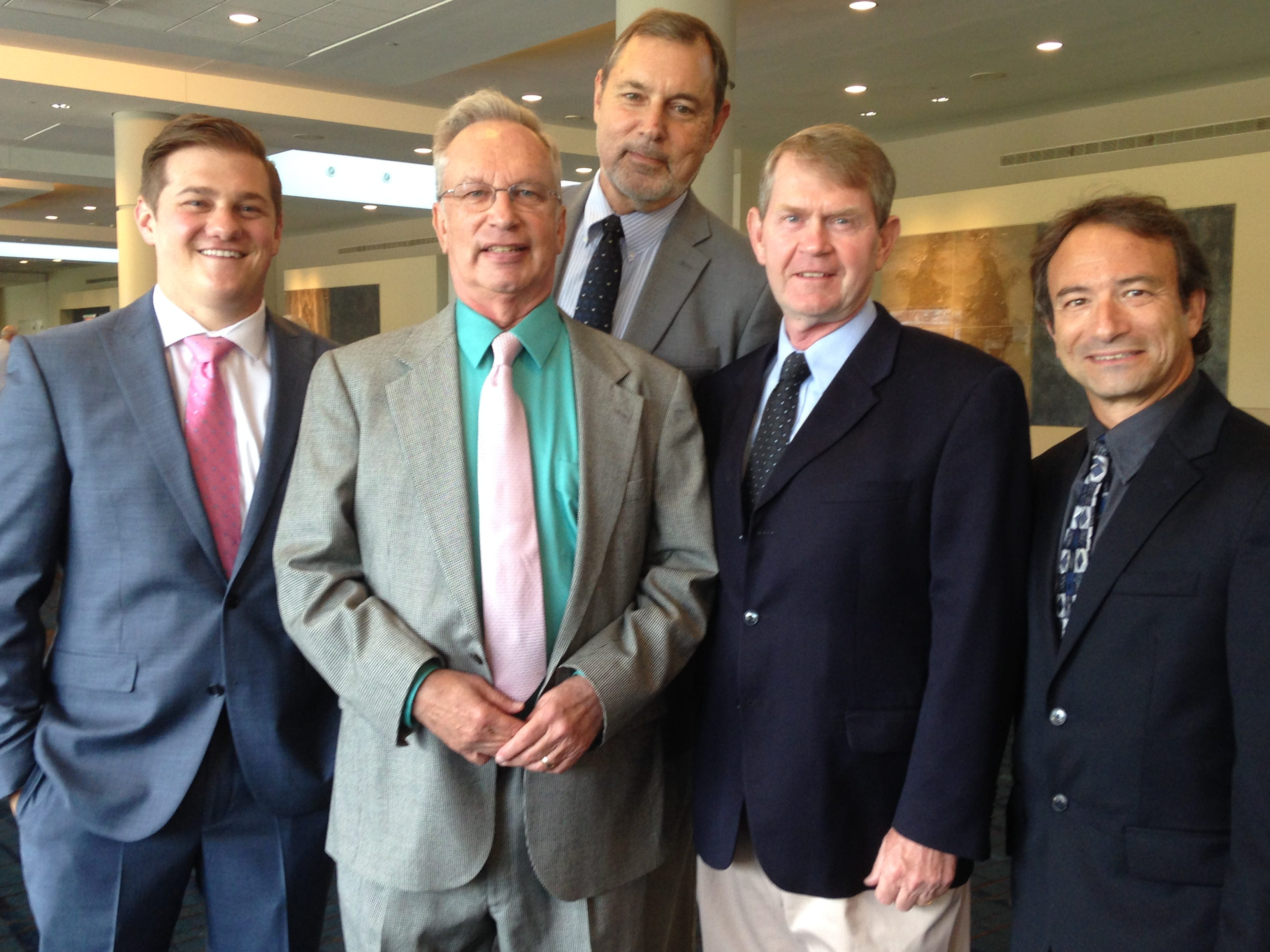 Front Page Follies honoree John Adams is surrounded by other local sports media personalities. Ben Frederickson, John Adams, Mike Strange, Jimmy Hyams and Phil Kaplan at the recent fundraiser.