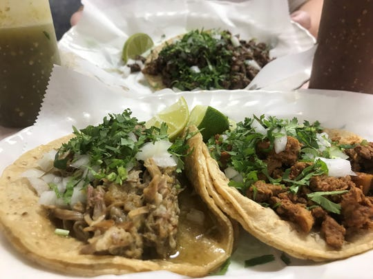 Carnitas, Al Pastor and Carne Asada tacos from La Fiesta Produce Market.