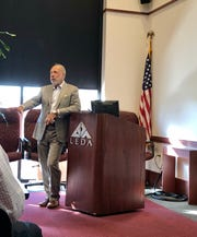 Steve Oubre with Architects Southwest discusses the University of Louisiana at Lafayette master plan at the Lafayette Economic Development Authority on Wednesday, Oct. 3, 2018.