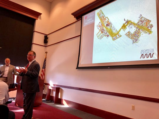 University of Louisiana at Lafayette President Joseph Savoie and Steve Oubre with Architects Southwest discuss the university's master plan at the Lafayette Economic Development Authority on Wednesday, Oct. 3, 2018.