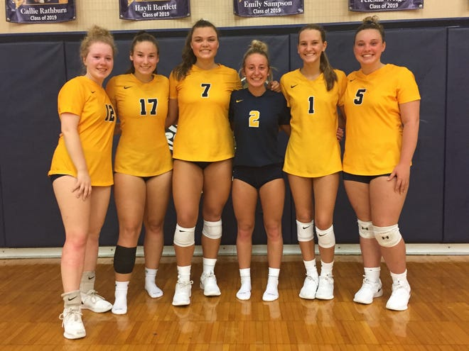 Senior members of the Lancaster volleyball team are from left to right: Erin Luby, Emily Sampson, Callie Rathburn, Hayli Bartlett, Laney Grubb and Felesha Wright.