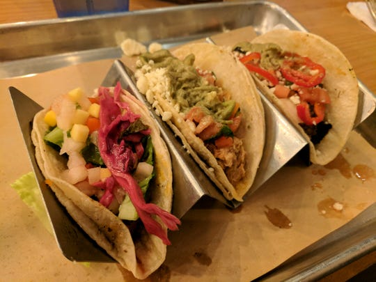 A trio of tacos from Citizen 7 restaurant in Louisville.