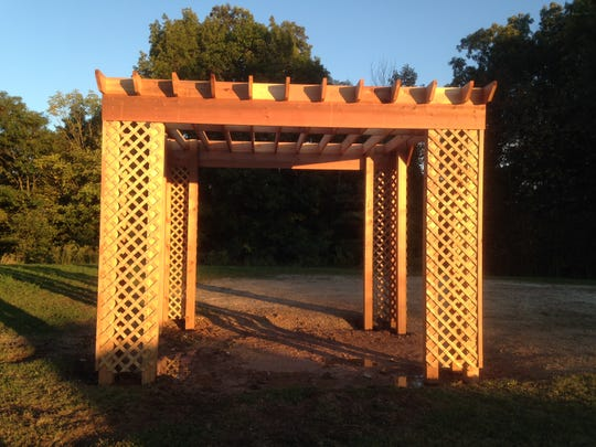 Manitowoc County Fish and Game Protective Association has made its Pigeon Lake property a memorial park. This pergola is just the start of the project. Next spring, bricks in the memory of loved ones will be available to purchase. The pergola was built by Waniger Remodelers and General Repairs.