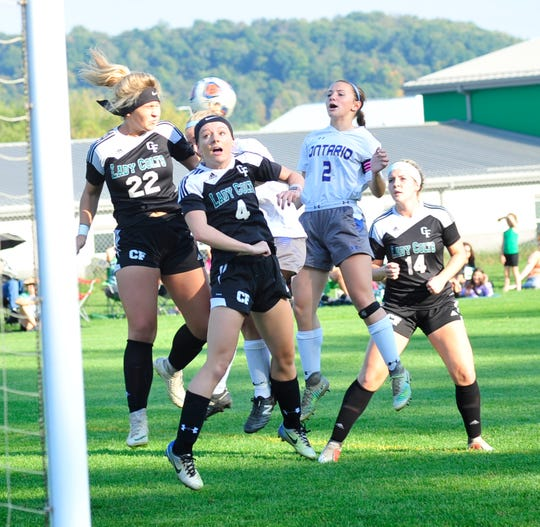 Clear Fork players defend against a goal kick by Ontario at Butler Elementary School on Wednesday.
