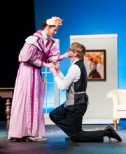 """Olivia Powers and Justus Bartman rehearse for """"The Importance of Being Earnest"""" at the Ohio State University-Mansfield."""