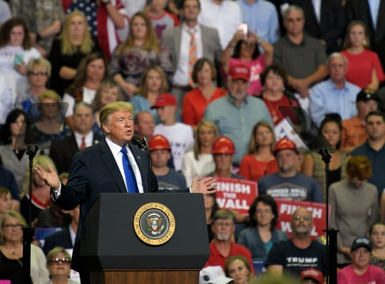 President Donald Trump speaks at a rally at the Landers Center in Southaven on Tuesday, Oct. 2, 2018.