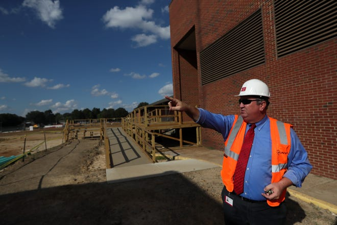 Superintendent David Stephens gives a tour of Bartlett High School, which is undergoing a $60 million renovation, on Wednesday, Oct. 3, 2018. The renovation started this June and is set to be complete by the beginning of the 2020 school year.