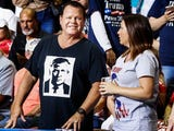 """Professional wrestling legend Jerry """"The King"""" Lawler had a front-row seat for President Donald Trump's speech at a campaign rally in Mississippi Tuesday."""