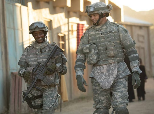 """Skye P. Marshall and  Justin Bruening are soldiers in """"Indivisible."""""""