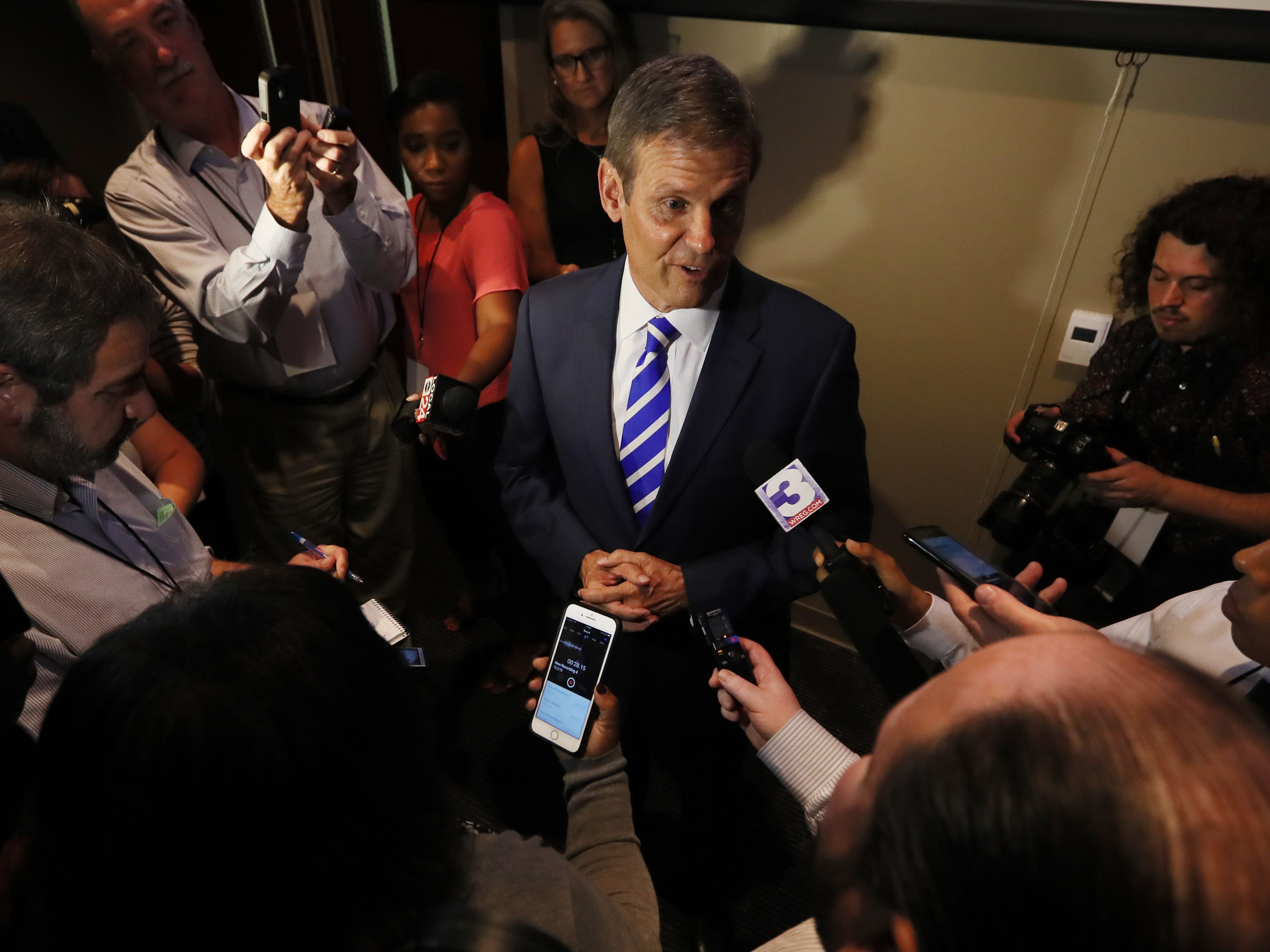 Republican Bill Lee speaks to the media following the gubernatorial debate at the University of Memphis' Michael D. Rose Theater in Memphis, Tenn., on Tuesday, Oct. 2, 2018.