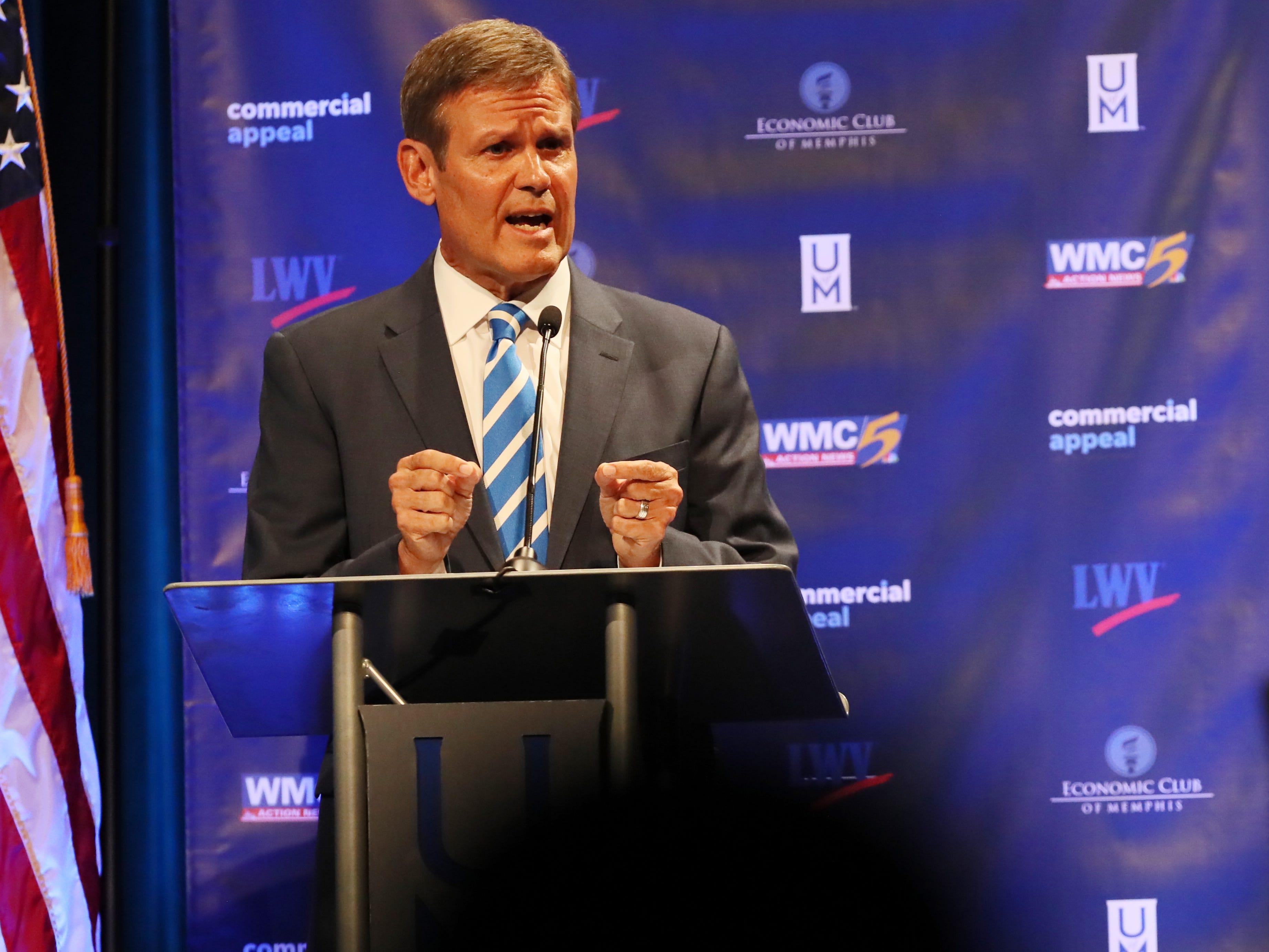 Republican Bill Lee speaks during the gubernatorial debate at the University of Memphis' Michael D. Rose Theater in Memphis, Tenn., on Tuesday, Oct. 2, 2018.