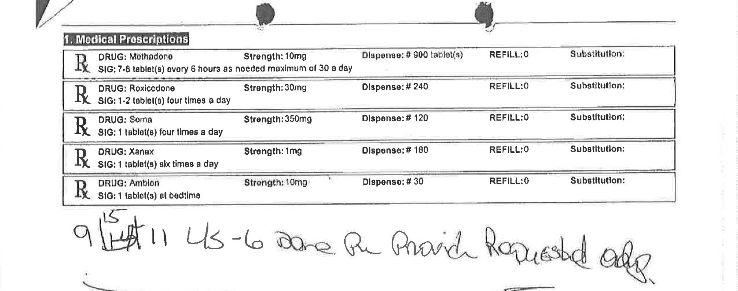 An excerpt from a Bearden clinic document shows the 51 pill-per-day prescription that nurse practitioner Christina Collins prescribed to a patient in 2011. State officials say this prescription is so large it could only be used for suicide or drug trafficking.
