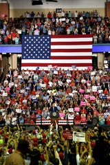 Scenes from inside the Trump rally at the Landers Center in Southaven on Tuesday, Oct. 2, 2018.