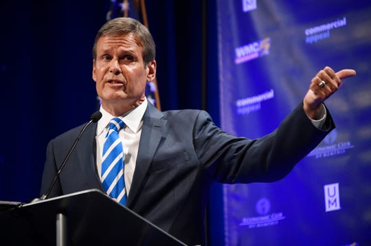 Republican Bill Lee speaks during the gubernatorial debate at the University of Memphis' Michael D. Rose Theater in Memphis, Tenn., on Tuesday, Oct. 2, 2018.