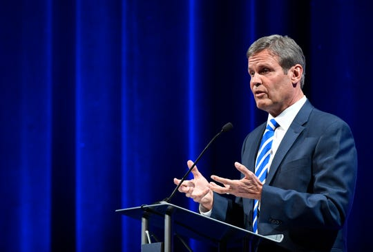Republican Bill Lee speaks during the gubernatorial debate at the University of Memphis' Michael D. Rose Theater in Memphis on Tuesday, Oct. 2, 2018.
