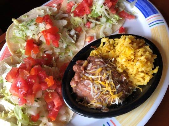 Mama tacos, with tacos, aka carnitas, on soft corn tortillas, at Nacho Mama's, Marco Island.
