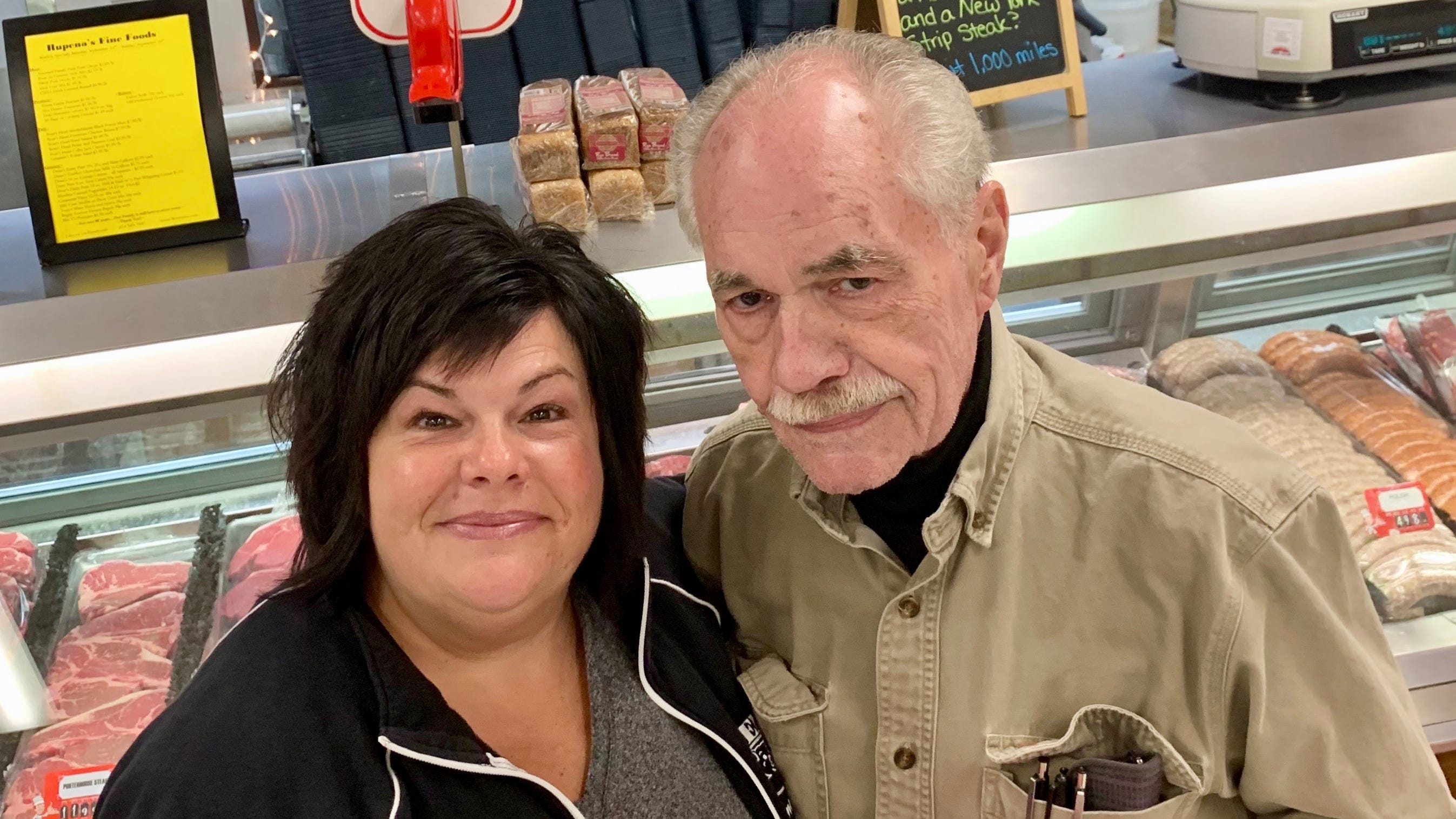 Owner John Rupena holds a rump roast at Rupena's Fine Foods in West Allis with daughter Maria Rupena Karczewski, who oversees everything in the store.