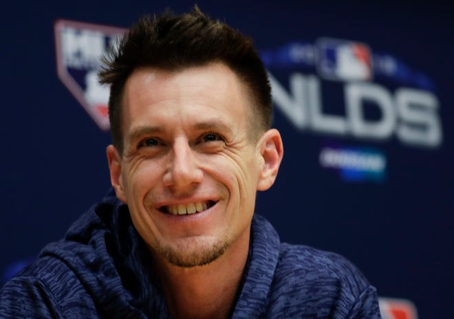 Brewers manager Craig Counsell answers questions during a news conference Wednesday in advance of the NLDS that starts Thursday afternoon in Milwaukee.
