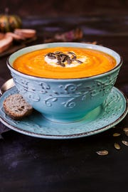 Metcalfe's Pumpkin & Parsnip Bisque is a satisfying soup to enjoy in October.