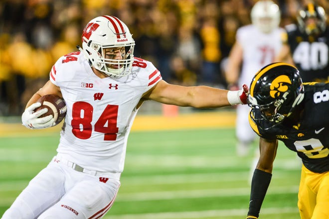 Redshirt freshman tight end Jake Ferguson is second on the Badgers with 12 catches for 166 yards and a touchdown.