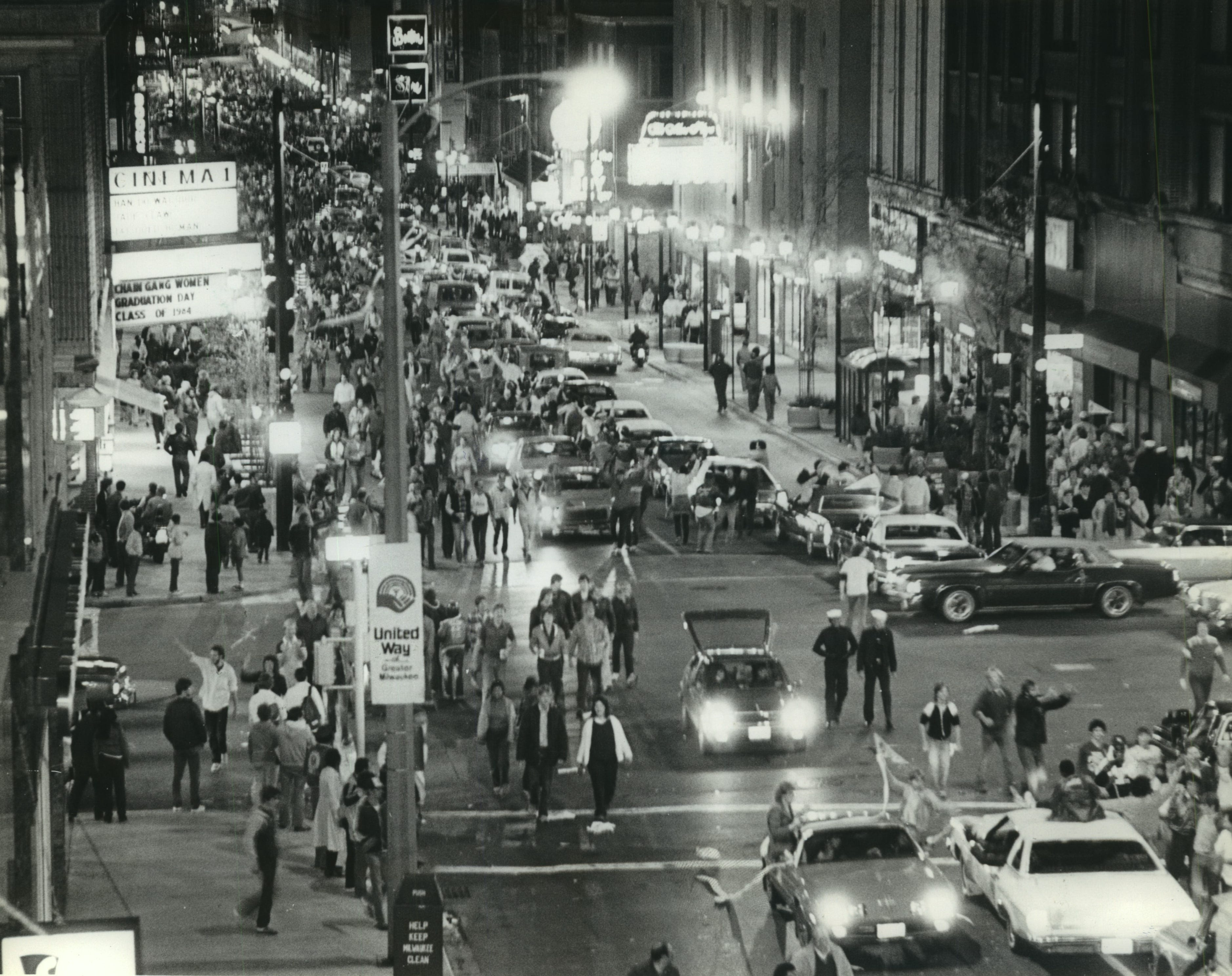 Wisconsin Avenue is turned into a party on Oct. 10, 1982, as fans walk up and down the street to celebrate the Milwaukee Brewers winning the American League pennant and going to their first World Series.