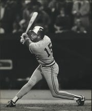 Cecil Cooper takes a swing during the 1982 World Series.