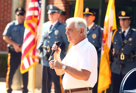 Hanover Mayor Ronald Francioli speaks at the Hanover Municipal Building during a police-style clapout for retirement of the 60-year officer and crossing guard, Steve Bolcar. October 3, 2018, Hanover, NJ