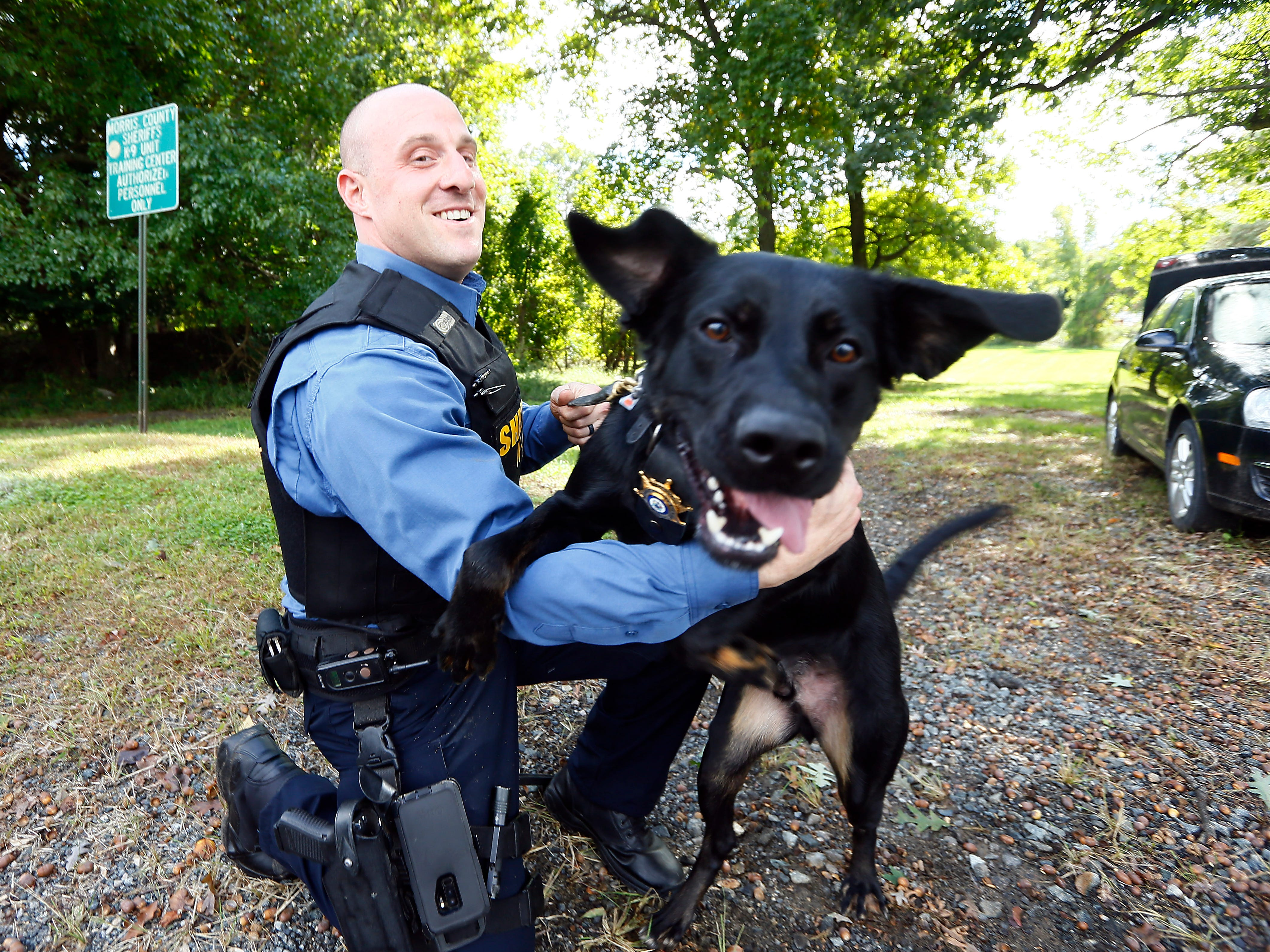K-9 Boomer at the Morris County sheriff's office K-9 kennels in Parsippany. Boomer was found at a shelter, rescued and then trained as the sheriff's office's newest bomb sniffing dog. October 3, 2018, Parsippany, NJ