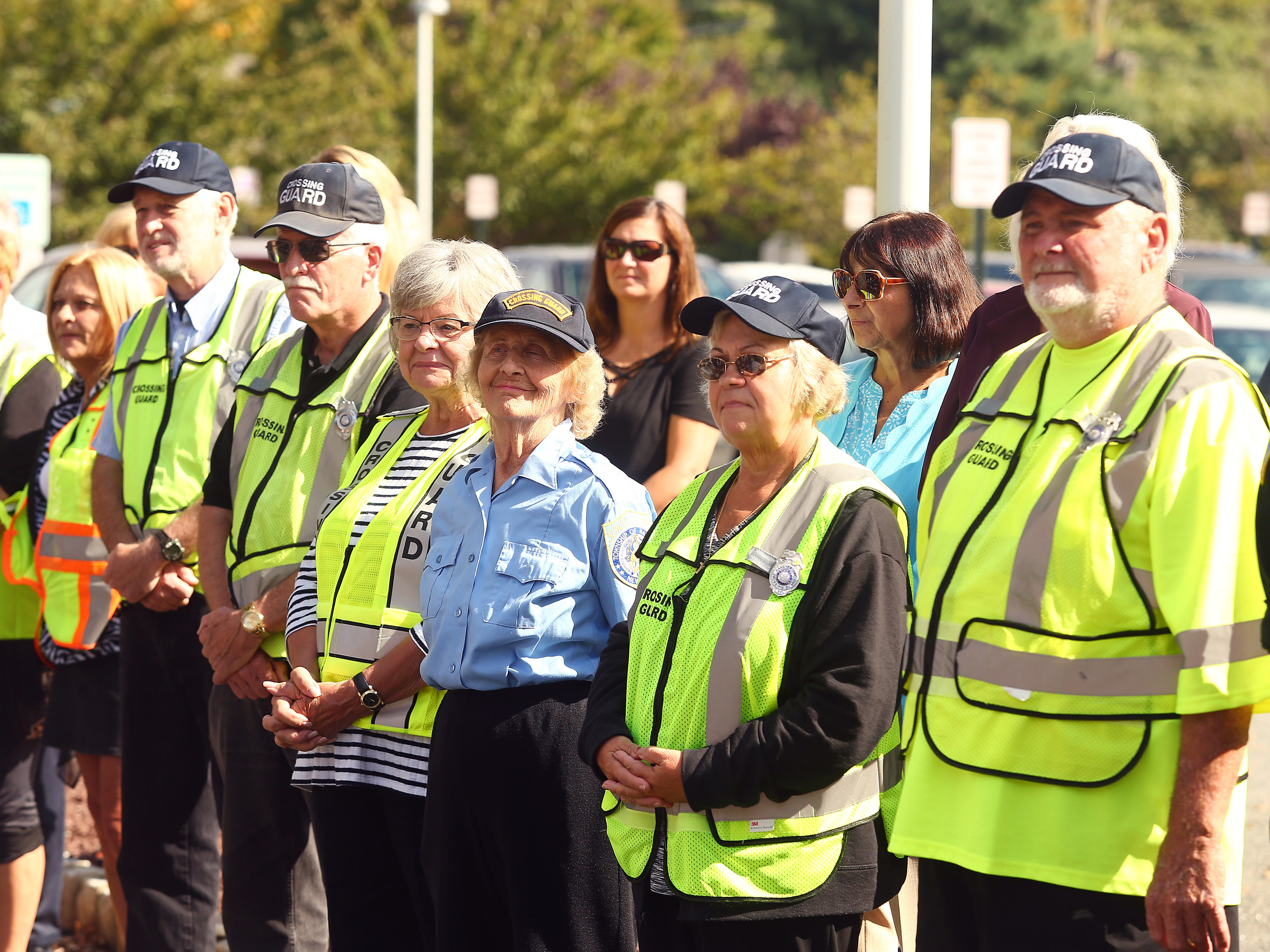 Crossing Guards came out in force to support friend Steve Bolcar during his police-style clapout for retirement of the 60-year officer and crossing guard at the Hanover Municipal Building. October 3, 2018, Hanover, NJ