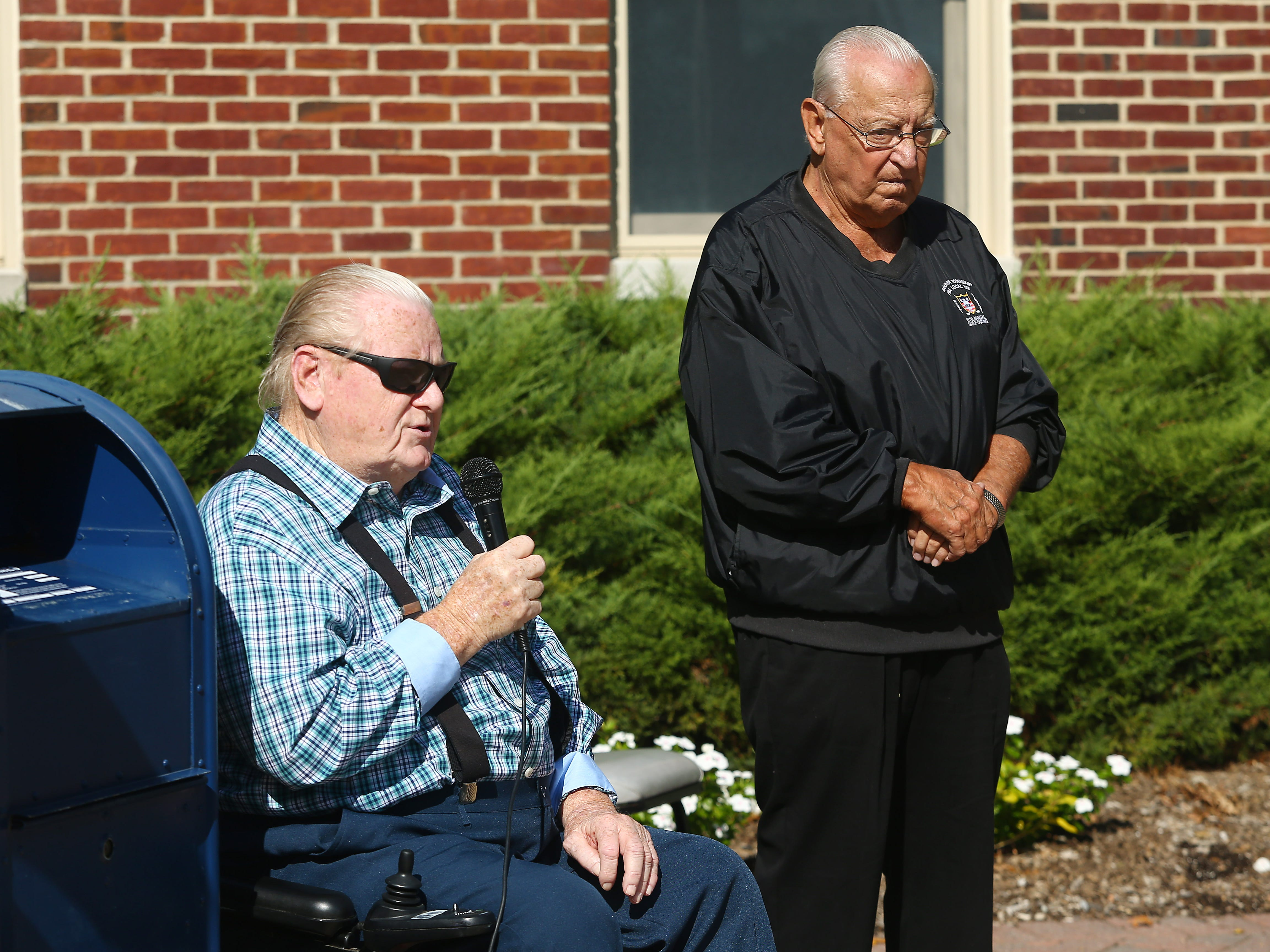Joe Mihalko speaks at the Hanover Municipal Building during a police-style clapout for retirement of 60-year officer and crossing guard, Steve Bolcar. October 3, 2018, Hanover, NJ