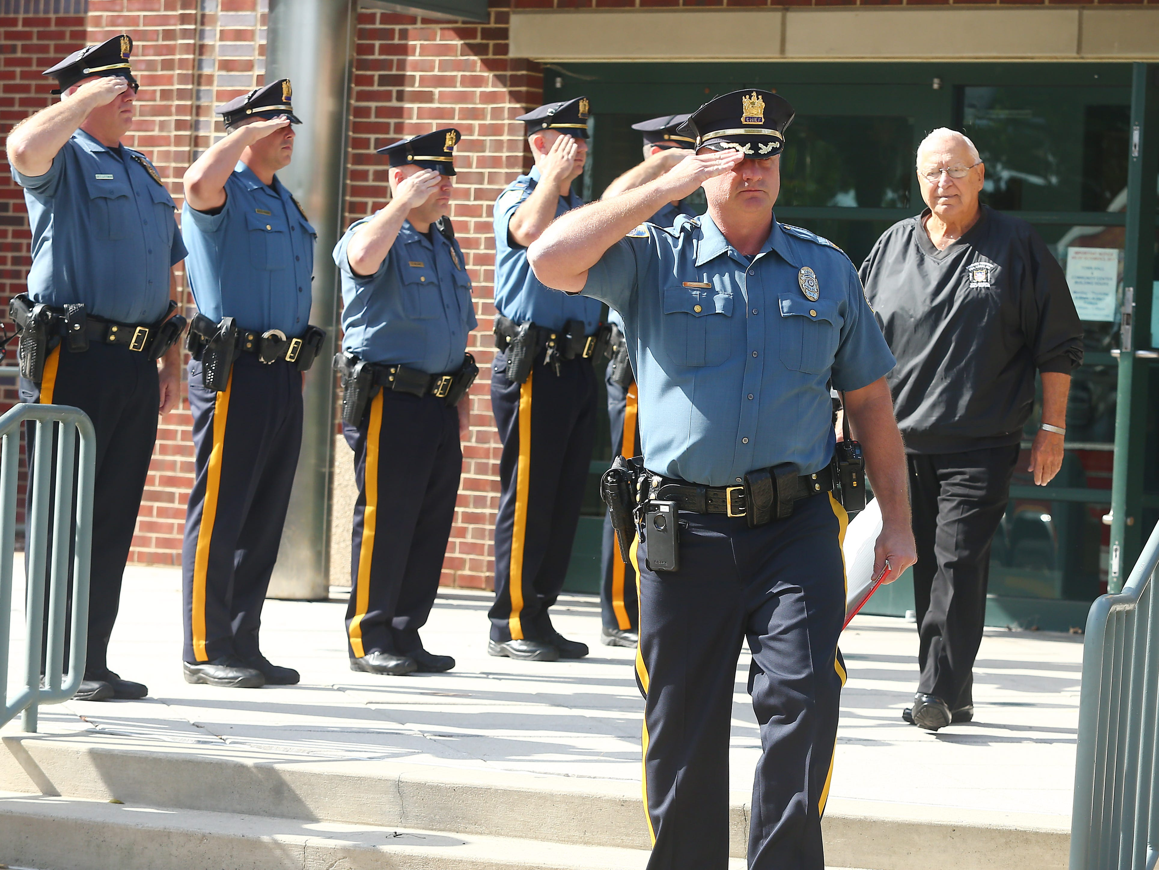 Police-style clapout for retirement of 60-year officer and crossing guard Steve Bolcar at the Hanover Municipal Building. October 3, 2018, Hanover, NJ