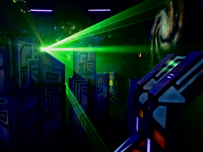 A look inside the two-story laser tag room at Stars and Stripes in Smyrna, Tenn.