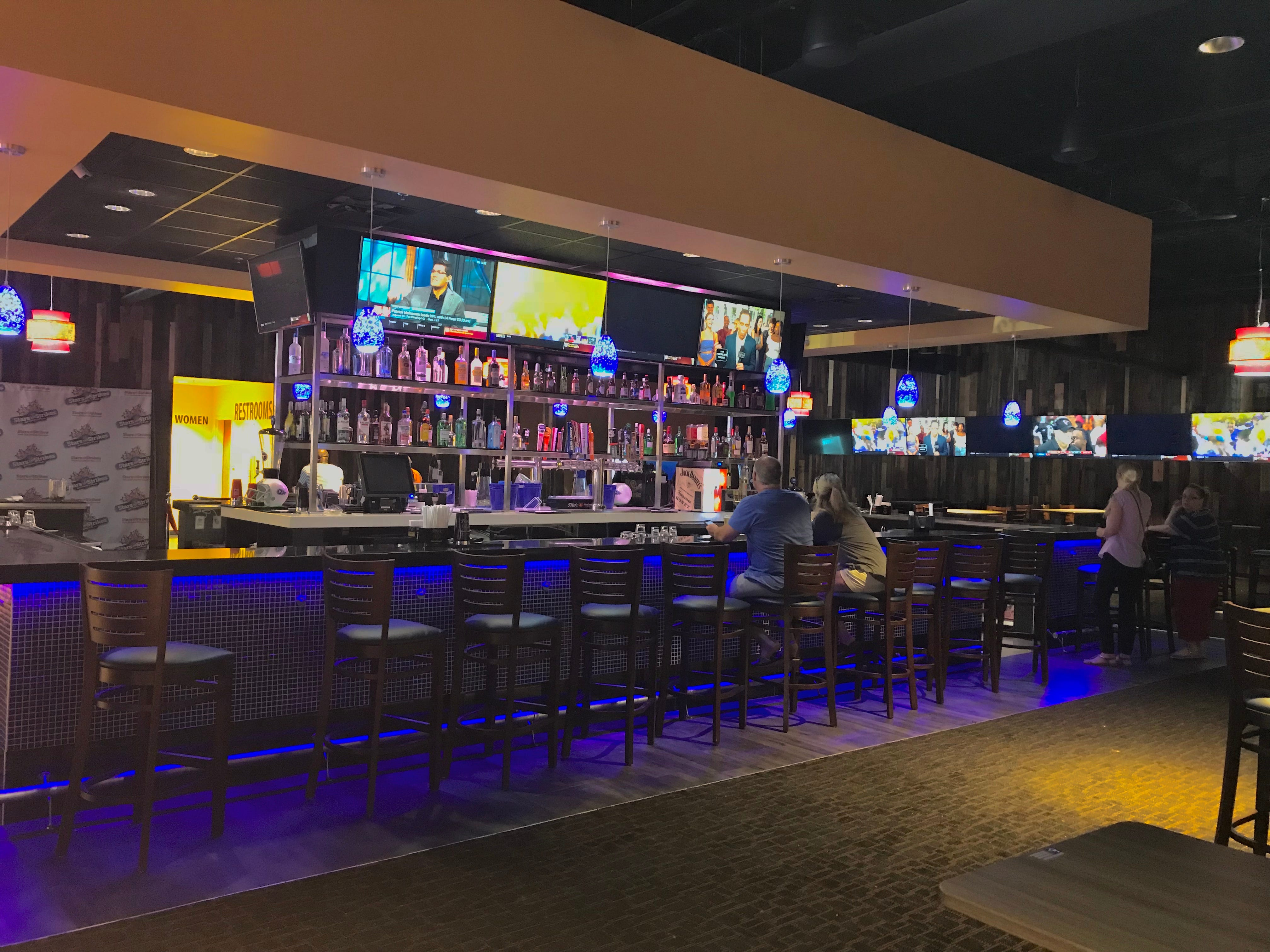Stars and Strikes in Smyrna, Tenn. has a full bar with televisions so sports fans can watch big games.